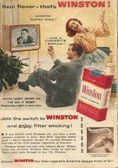 Winston tastes good! 1956 (STUDIOZ7) Tags: woman man television tv fifties ad smoking advertisement commercial 1950s 50s cigarettes smoker winston cbs tvguide rjreynolds garrymoore