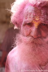 Baba (ijustcoolin) Tags: old man color beard indian holi vrindavan