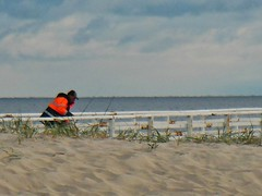 Fishing in the Sand (mikecogh) Tags: fishing jetty dunes perspective jacket luminous grange
