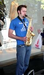 sax (D G H) Tags: daveheston downtown sax saxophone seattle streetphotography sidewalk street music musicians streetmusician urban man people busker streetperformer