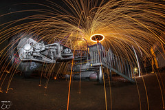 Stripes (trx_850) Tags: steelwool magnesium night lte lzb spin spinup power shovel digger big steelwoolphotography wideangle