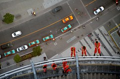 Harnesses & Jumpsuits (Pedestrian Photographer) Tags: cn tower walk walkers taxi taxis dsc6313b toronto edge orange harness jumpsuits ribbet crosswalk fear heights high stories air pedestrians little ants scary phobia