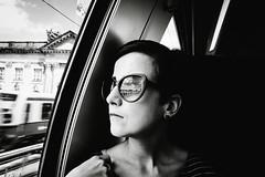 Far Away (MobilShots) Tags: blackandwhite monochrome portrait closeup woman sunglasses reflection travel inside train berlin vsco fujifilm fujifeed fujixseries xt1 window