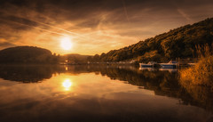 Ullswater Sunset (tony.wish) Tags: trees sky landscape lake hdr sunset water reflection sun clouds summer nikon boats uk england cumb cumbria sundown sig sigma wideangle goldenhour lakedistrict 1020 d5300
