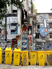 Bangkok graffiti with yellow garbage cans (ashabot) Tags: bangkok thailand cities seasia seetheworld graffiti yellow urban