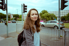 Meet Me At The Junction (Shot In The Street) Tags: streetphotography eyecontact leicam6ttl smile street upfest2016 2016 film colour female portra girl candid bristol lips analogue woman leicam6 upfest kodak