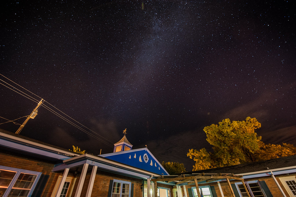The stars shining over the Lakeside Motel in Green Lake, WI