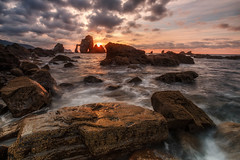 San Juan de Gaztelugatze (Alfredo.Ruiz) Tags: bakio beach bermeo bizkaia clouds coast foam heat landscape nature ocean offshore red reflections rock sanjuandegaztelugatze sea sky spain summer sun sunset warm