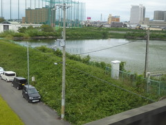 One of the Hineno ponds (seikinsou) Tags: japan spring haruka train jr railway kix kansai airport shinosaka hineno kankuhinenostationhotel golf cage pond