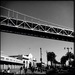 (elryerson85) Tags: sanfrancisco california bridge bw baybridge embarcadero iphone iphone5 hipstamatic