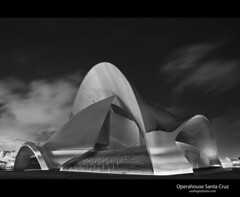 Auditorio de Tenerife (esslingerphoto.com) Tags: city longexposure light bw white black building architecture night clouds canon de photography eos lights spain europe exposure cityscape shot nightshot architectural auditorio single tenerife santacruzdetenerife nightshots operahouse mkii stacruz esslinger auditoriodetenerife esslingerphotocom