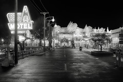 Disney Cars Land B&W (cstout21) Tags: california ca travel chris vacation blackandwhite usa cars us unitedstates disneyland disney lightposts hdr highdynamicrange stout californiaadventure neonsigns waltdisney disneyscaliforniaadventure disneylandresort ngoc canon60d carsland stoutandstout northamera raditorsprings westcoastroute66