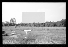 At the drive-in (Area Bridges) Tags: blackandwhite abandoned film virginia pentax july richmond scan drivein negative scanned 1990 mesuper driveintheater july1990