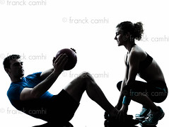 man woman exercising weights workout fitness ball (Franck Camhi) Tags: shadow two people woman white man male sports girl silhouette female training cutout pose person one coach holding sitting exercise fulllength couples bodybuilding indoors whitebackground studioshot posture pushups weightlifting bodybuilder workout fitness adults isolated position trainer weights aerobics gymnastic crunches caucasian weighttraining personaltrainer abdominal exercising swissball fitnessball aerobicinstructor