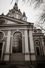 Window (Hkan Skog) Tags: bw church stockholm sdermalm urbanexploration slussen x10 svartvitt katarinakyrka fujifilmx10 sepiafilmgrain