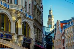 Old Riga (fede_gen88) Tags: old city blue sky church buildings town nikon belltower latvia steeple belfry colourful riga rīga latvija d5100