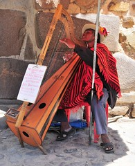 The Blind Harpist. (john a d willis) Tags: peru inca blind cusco fortress sacredvalley ollantaytambo harpist