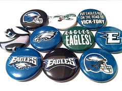 PHILADELPHIA EAGLES - NFL football pinback buttons - sports team pin set (skippydogdesigns) Tags: classic philadelphia sports vintage logo football team buttons nfl helmet pins oldschool collection e philly fans badges eagles collectibles throwback philadelphiaeagles michaelvick sportsteam pinbackbutton wordmark pinbackbuttons
