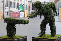 Potting the green outside the Crucible (zawtowers) Tags: world winter sculpture green art public sport gardens ball 50mm championship looking theatre sheffield player tournament hedge april towards snooker potting fifty nifty crucible betfair 2013 thehomeofsnooker afsnikkor50mmf18g