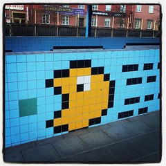 Subway pixel art (badjonni) Tags: streetart subway square stockholm lofi tiles pacman squareformat iphoneography instagramapp uploaded:by=instagram