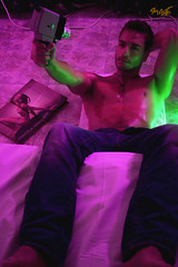 Neon Boy 2 (tim_asato) Tags: camera pink boy sexy male men guy green pecs magazine beard lights luces model neon muscle revista magenta rosa hunk cable pit modelo jeans brunette habitacin abs moreno camara barba scruff rrom tejanos masculino musculo pectoral abdominales rubengallego timasato