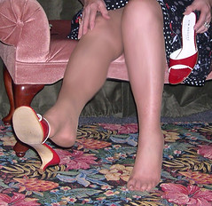 Close up...feet shoe dangle