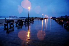 Rain Soaked Blues (Moniza*) Tags: ocean sea sky seascape storm beach nature water rain club night clouds landscape pier newjersey twilight fishing sand nikon waves hurricane nj explore shore jersey boardwalk irene bluehour jerseyshore oceangrove d90 explored moniza