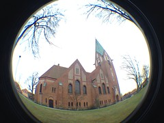 Soltau Kirche (CoasterMadMatt) Tags: fish building eye church germany lens religious deutschland photography photo spring foto fotografie distorted photos kirche fisheye attachment german april deutsch frühling fisheyelens iphone soltau 2013 fotografien coastermadmatt uploaded:by=flickrmobile flickriosapp:filter=nofilter