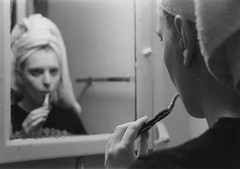 Reflect (Lauren Finkel Photography) Tags: morning portrait blackandwhite bw film towel toothbrush gender