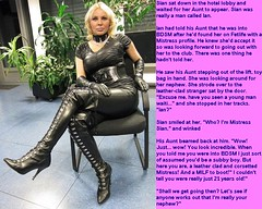 Leather Mistress (Jenni Makepeace) Tags: fetish transformation magic tgirl sissy caption captions mtf tgcaptions tgcaption