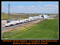 Amenizando la espera (Powell 333) Tags: espaa speed train canon tren trenes eos high spain rail railway trains leon ave 7d powell campo medina alta velocidad railways len 015 018 highspeed medinadelcampo castilla ferrocarril renfe espaola castillalen 730 castillaylen 7300 altavelocidad hbrido adif ffcc hibrido castillayleon operadora castillaleon altavelocidadespaola alvia 730018 renfeoperadora eos7d canoneos7d medinacampo 730015 intercambiadordeanchodeva intercambiadoranchova intercambiadoranchovia