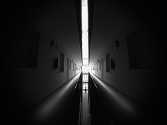 Is it a prison or a hotel? (FreakyLeo) Tags: windows light blackandwhite house black building dark hotel spain europe doors floor interior corridor playa andalucia fisheye explore cadiz railing barbate explored goprohero3blackedition explore27may13