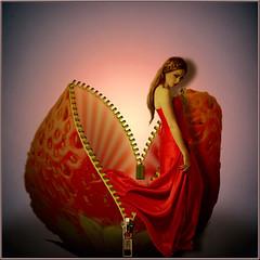 Strawberry Wonder (jaci XIII) Tags: woman strawberry mulher morango surrealismo photomontagem