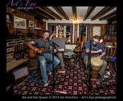 Me and the Queen (Arts Eye Photographic) Tags: musicians drums pub westsussex unitedkingdom drum guitar percussion bongo performance brushes acoustic performers guitarists musicalinstruments musicstand highhat snaredrum vibraslap mikestand barnsgreen kazoohorn thelogarythm