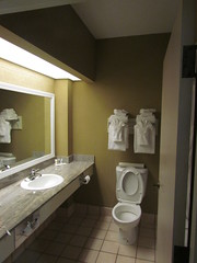 The Bathroom in My Room at the Comfort Suites Pavilion Raleigh -- Raleigh, NC, July 2, 2016 (baseballoogie) Tags: 070216 baseball 16 comfortsuitespavilion hotel room hotelroom raleigh nc northcarolina canonpowershotsx30is