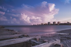 Pompano Beach - sunset (- Anthony Papa -) Tags: pompano beach florida south anthony papa canon canon5dmkii long exposure dock water blue wood lighthouse moon america digital vintage matte landscape sea ocean atlantic outdoor coast shore seaside cloud sky pink purple sunset 24105mm clouds rural nature photography digitalrev white art travel tumblr composition