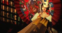Crimson Sunset (Niifreya Resident) Tags: okinawa summer festival japanese japan kimono silvery k saku pose suicidalunborn due la baguette