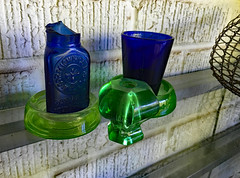 Blue & Green Still Life (BKHagar *Kim*) Tags: bkhagar blue green stilllife momdads bottle broken shotglass shot 1996 olympics atlanta ga georgia julesphotochallengegroup