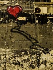 Love for Emma (Steve Taylor (Photography)) Tags: heart love balloon emma airconditioner fan string art digital graffiti mural streetart wall brown red fun newzealand nz southisland canterbury christchurch cbd city shadow texture
