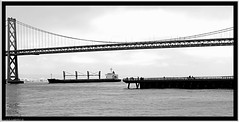 """Bay Bridge"" (""SnapDecisions"" photography) Tags: california bridge oaklandbaybridge oakland sanfrancisco ship boat sony rx100m3 hirschfeld"