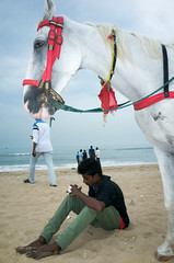 Marina Beach, Chennai, 2016 (bmahesh) Tags: marinabeach chennai tamilnadu india people beach life horse ricohgr wwwmaheshbcom