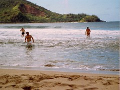 Grampy Dad and Bruce in the Water - c1983 (kimstrezz) Tags: 1983 familytriptohawaiic1983 hanaleibay kauai grampy dad brucecarll