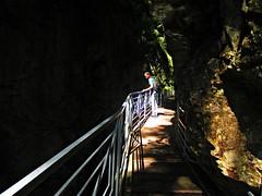 Gorges du Fier (AmyEAnderson) Tags: cliffs canyon gorge rock formation rhonealps france europe spring gorgesdufier footbridge railing planks shadows sunrays dappled