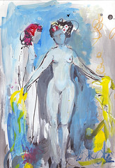 Two dancers on stage, nude (amaradacer) Tags: painting art nude dancer mixedmedia figurative abstract acrylic woman female contamporary modern yellow blue body fineart persons figure