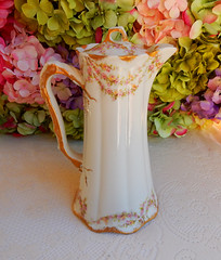 Antique Limoges Porcelain Chocolate Pot ~ Pink Drop Rose Swags Gold (Donna's Collectables) Tags: antique limoges porcelain chocolate pink rose swags gold thanksgiving christmas