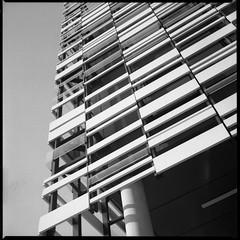 Outside Facia (iGladsPhotoWorld) Tags: film kiev88 russian mediumformat blackwhite bw fp4 ilfordfp4 manchester mmu birleycampus johnbrooksbuilding negative scanned architecture buildings birleybuilding hulme