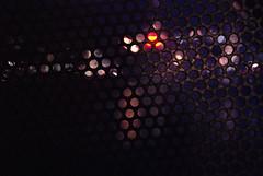 DSC_5812 [ps] - Aforethought (Anyhoo) Tags: anyhoo photobyanyhoo london england uk dark night lights londonbridge screen metal mesh grille bokeh holes repetition grid galvanised texture steel