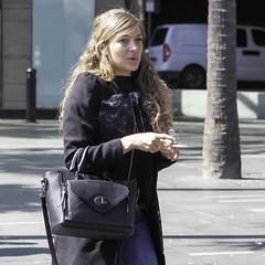 Smoking !!! (star79322) Tags: sydney steveroebuckphotography scene street blond girl smoking smoke bag 2016