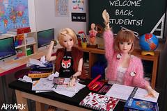 Back 2 School: A Lizzy 'n' Hermione Short 2 (APPark) Tags: dolls dioramas 16scale school momokos lacymodernist preppygirl books classroom
