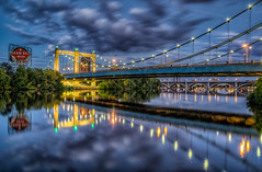 Hennepin ave bridge (Minneapolis) (Paul Domsten) Tags: minneapolis minnesota hennepinavebridge bridge clouds bluehour pentax mississippi mississippiriver